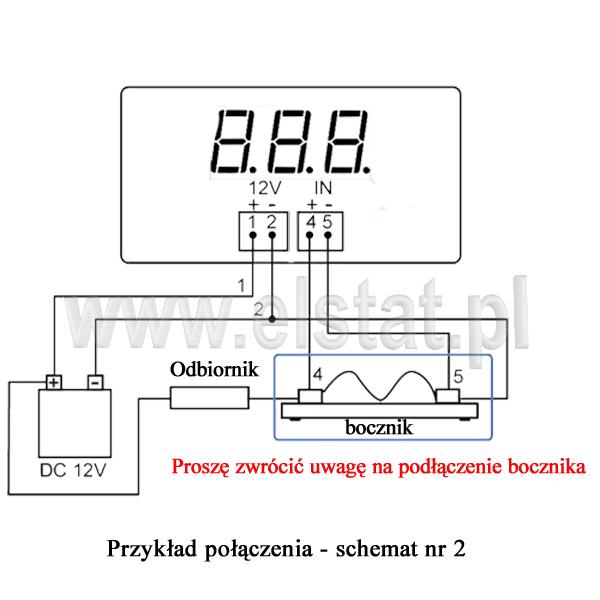 Schemat 2 podłączenia amperzomierza z bocznikim 50A