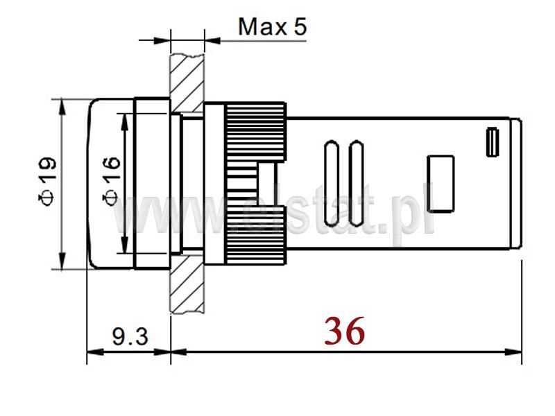 Wymiary kontrolki AD-16C