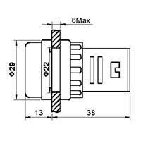 Wymiary kontrolki AD-16_22mm