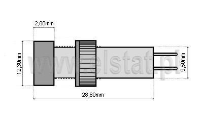 Wymiary kontrolek LED 5mm