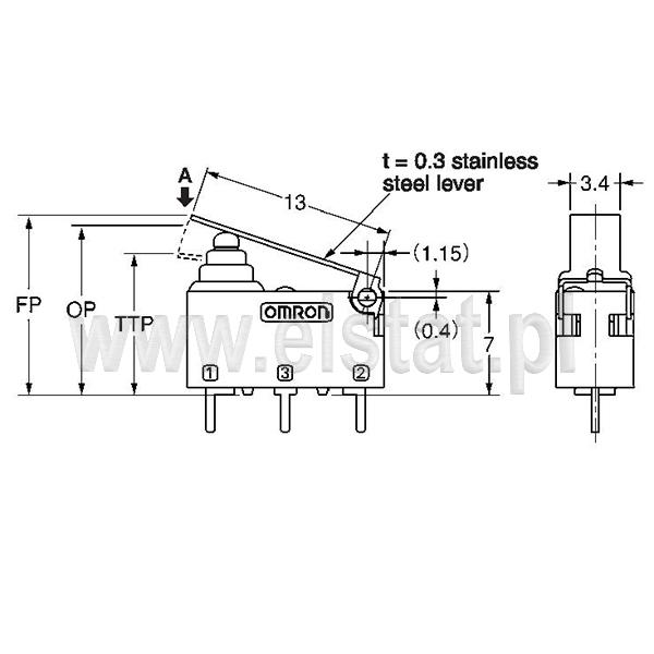 Wymiary wyłacznika krańcowego D2HW