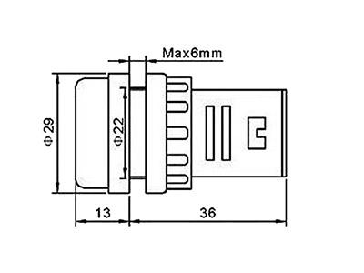 Wymiary woltomierza w kontrolce fi 22mm