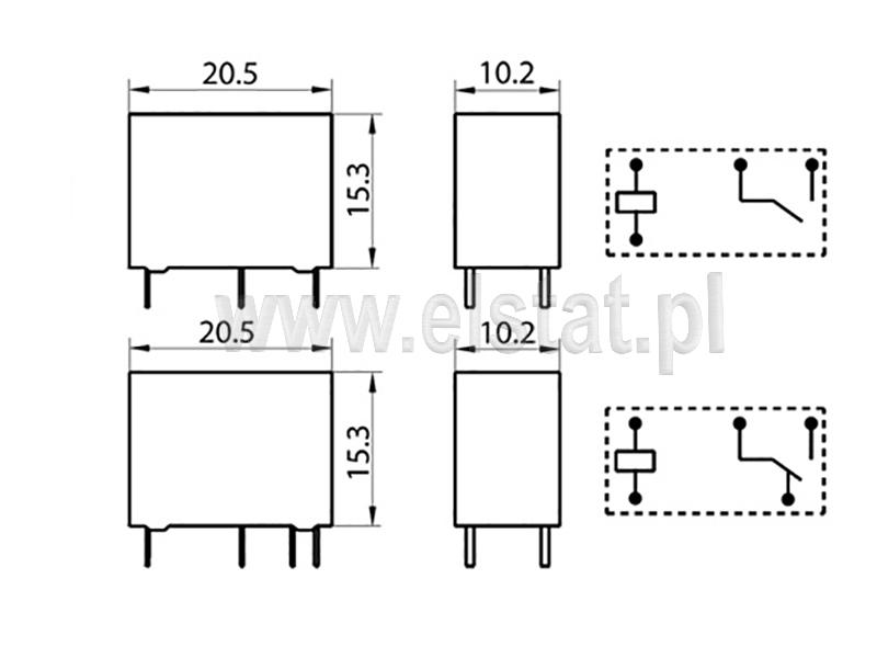 Wymiary przekaźnika HF33