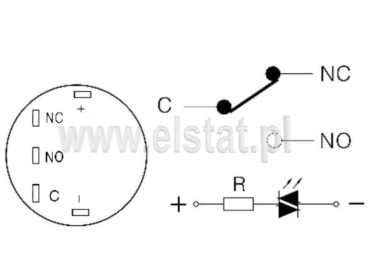 Schemat wyprowadzeń styków oraz diody LED