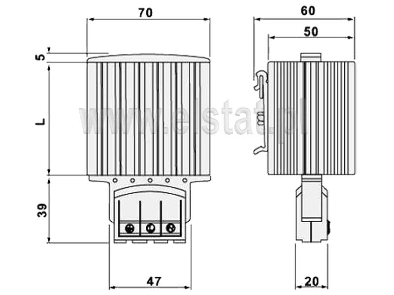 Wymiary grzałek półprzewodnikowych do szafek sterowniczych