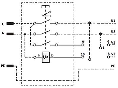 Wyłącznik elektromagnetyczny jednofazowy połączenie