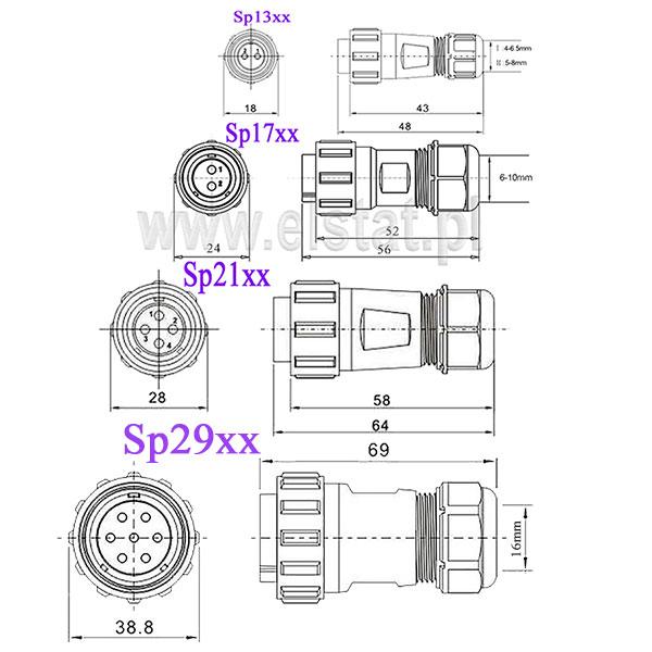 Wymiary złącz SP13, SP17, SP21