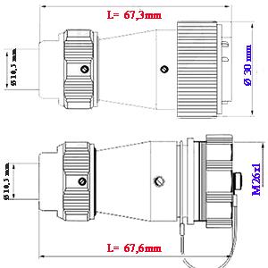 Wymiary złącz metalowych WF24